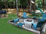 Fire Pit and additional Charcoal Grill and picnic area