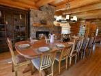 Beautiful dining room to enjoy fireside dining for 14-16