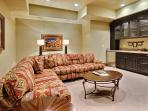 Theater Media Room with 50' TV and Wet Bar on Lower Level