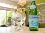 Welcome Italian sparkling water for all of our guests.