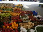 local market with fresh produce