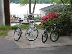 We have 4 bikes, 2 adults, 2 kids, as well as 2 kayaks and a canoe for your use.