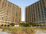 Beach Cove Resort from the beach.  320 condos and 16 floors. Our condo is on the 10th floor.
