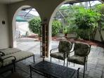 Enjoy total shade  under the fan on lanai ,or partial shade on the screened patio