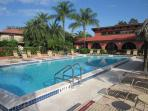 The club house by the large heated pool provides shade and facilities