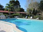 The smaller of the two heated pools:private and secluded