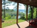 One of the porch swings overlooking the lake