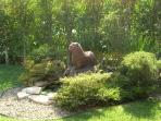 Zen garden with water fountain