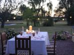 Candle lit dinner under the stars