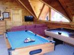 Upstairs Game Room Pool Table and Air Hockey