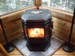 Pellet Stove burns 24/7!!  Its a beautiful, warm, and cozy fire that runs on its own