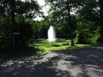 View of the small lake and water fountain from the house (Emån river damm)