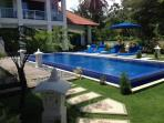 View of the pool and villa