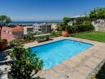 private pool with views over the bay , robben island and the world cup stadium