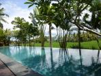 The infinity pool has a shallow end for sitting and relaxing