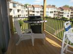 Gas grill on balcony