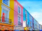 Notting Hill's beautiful painted houses.