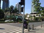 The pedestrian crossing going to the mall.  The mall is just a block away!  2 mins walk tops!
