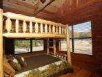 Bedroom#2: FULL/QUEEN custom log bunk bed, 500+ thread count on bed sheets, picture windows