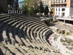 The remains of the Roman Theater about 200 meters from the apartment, on a pedestrian street