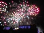 Edinburgh Castle New Year 2014 - photograph taken from the Signal House living room