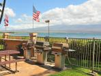 3 Gas Barbeques by pool overlooking ocean.
