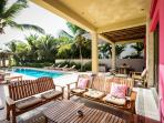 Riviera Maya Haciendas, Villa Alma Rosa - Beachside Covered Terrace & Chaises Lounges
