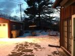 Side yard in the winter time.