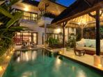 Charming 2 bedroom pool villa by night