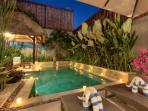 Private pool and tropical garden at night