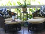 Seating on the 34 ft veranda. Unobstructed views of Alenuihaha Channel & Maui