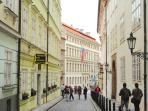 Vlasska street (you can rent a segway or an electric bike and experience Prague on two wheels :)