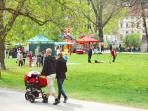 In the Kampa Park near the apartment are hosted often various markets
