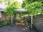 Pergola outdoor eating area, shaded by grape vines