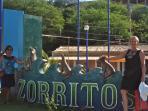 Welcome to Zorritos sign, 1km south of Punta Cocos Beach