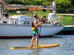 SUP can be rented at Shem Creek just 3 miles away. Paddle with dolphins! Kayak rental too!  Fun!