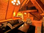 Vaulted ceilings with knotty pine wood