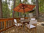 Deck with teak furniture