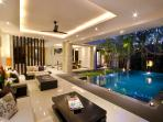 living facing to pool
