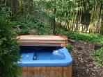 The hot tub beneath the timber bamboo.