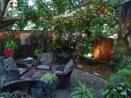 Waterfeature, firepit, night lights, hanging out