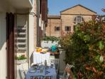 The terrace is our top amenity. It features a view over the pretty Santissima Annunziata church.