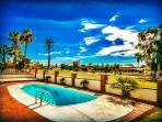 POOL, DECK, GOLF COURSE