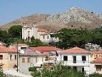 Looking across Eresos village to the mountains