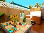 Enjoy breakfast on the patio before going to the beach