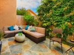 Inviting comfortable backyard patio furniture.