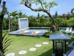 View from the room. Pool, garden and rice fields