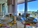 Dine with view out to beach community
