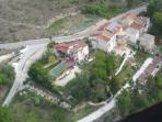 Aerial View of Villas and surrounding country side, our driveway, parking and various gardens