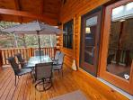 Deck dining at its best, with stereo sound system